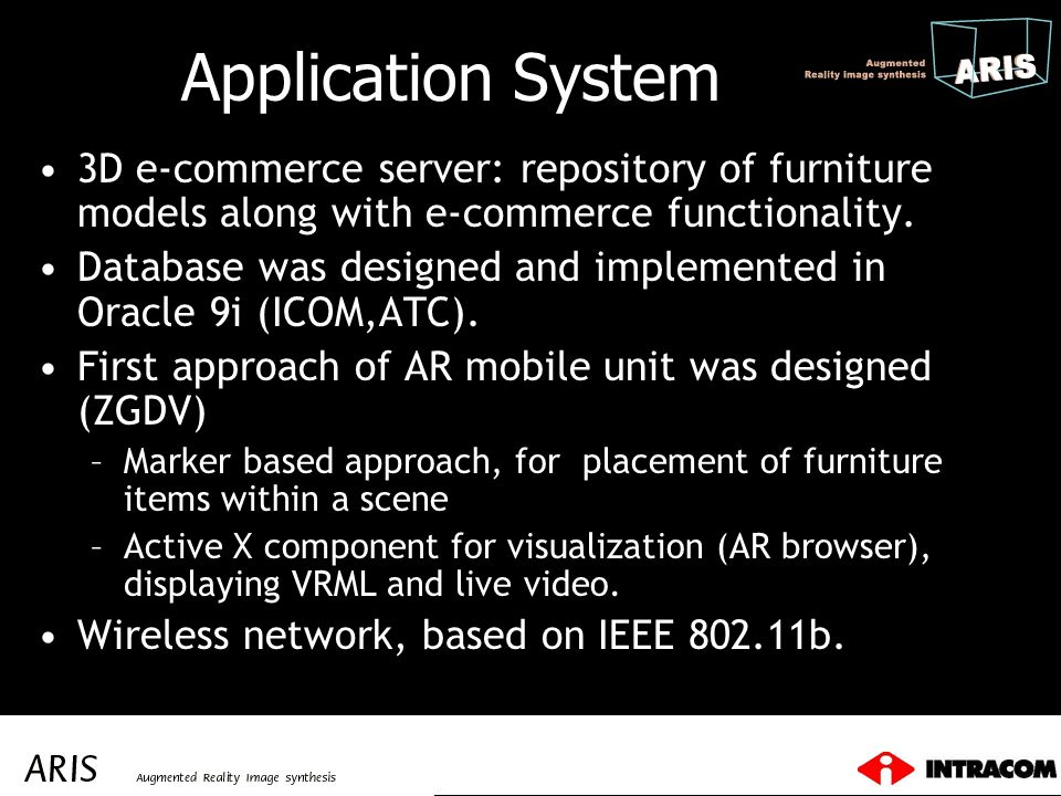 Application System 3D e-commerce server: repository of furniture models along with e-commerce functionality.