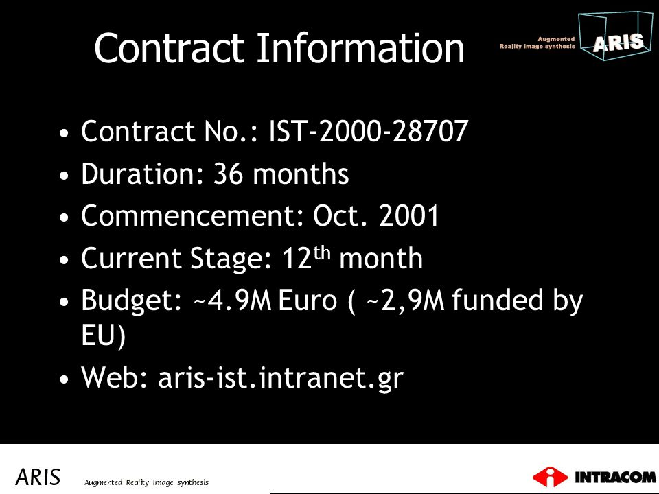 Contract Information Contract No.: IST-2000-28707 Duration: 36 months