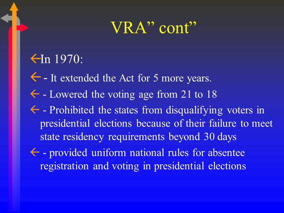 VRA cont In 1970: - It extended the Act for 5 more years.