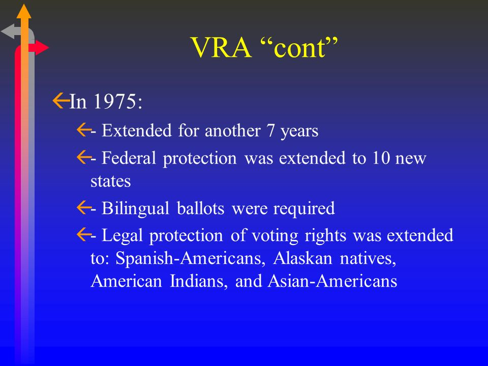 VRA cont In 1975: - Extended for another 7 years