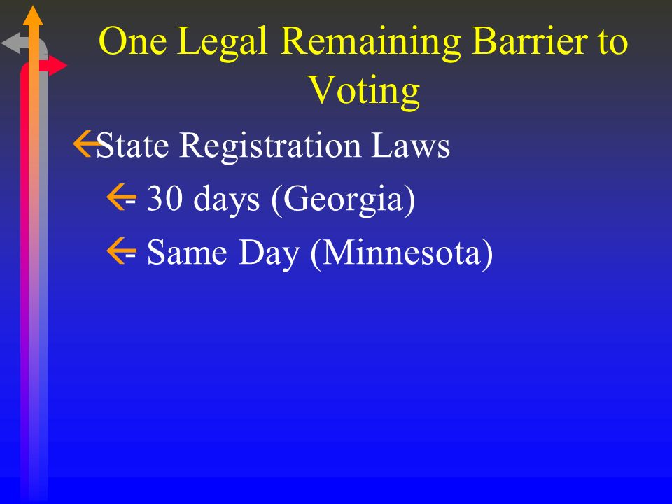 One Legal Remaining Barrier to Voting