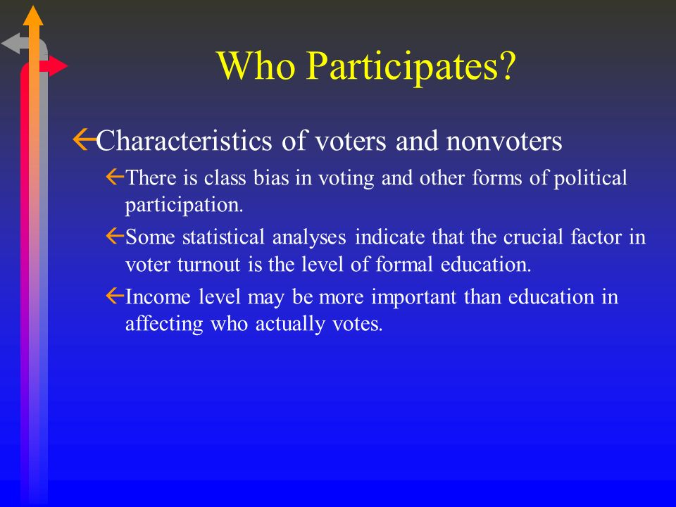 Who Participates Characteristics of voters and nonvoters