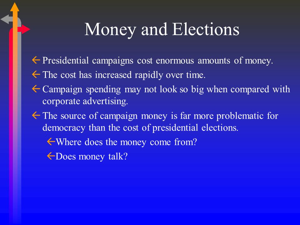 Money and Elections Presidential campaigns cost enormous amounts of money. The cost has increased rapidly over time.