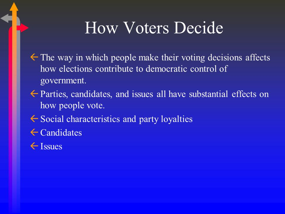 How Voters Decide The way in which people make their voting decisions affects how elections contribute to democratic control of government.