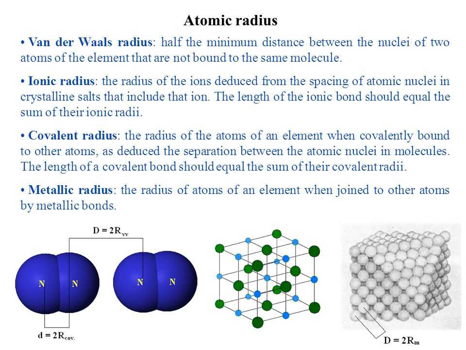 Atomic radius Van der Waals radius: half the minimum distance between the nuclei of two atoms of the element that are not bound to the same molecule.