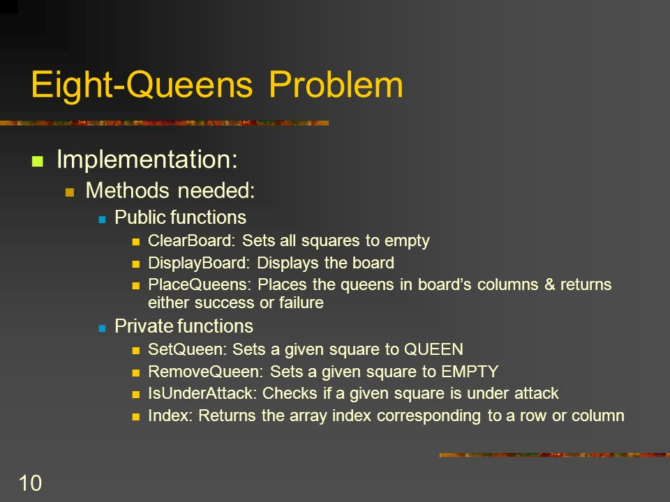 Eight-Queens Problem Implementation: Methods needed: Public functions