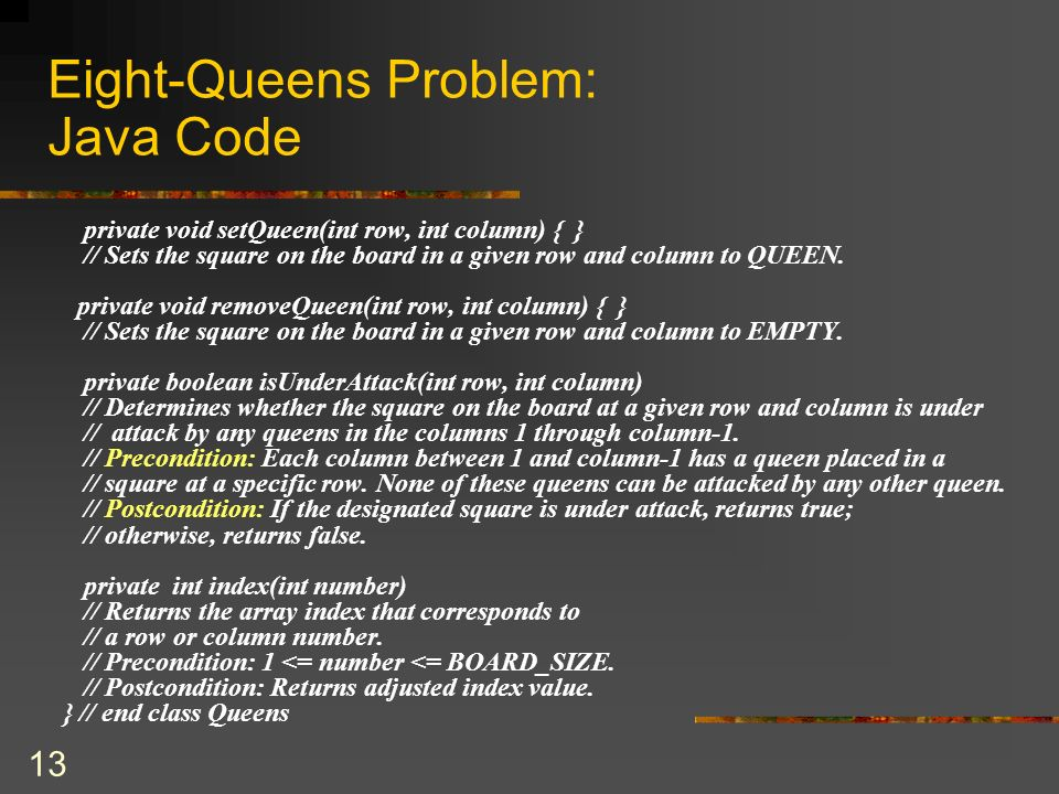Eight-Queens Problem: Java Code