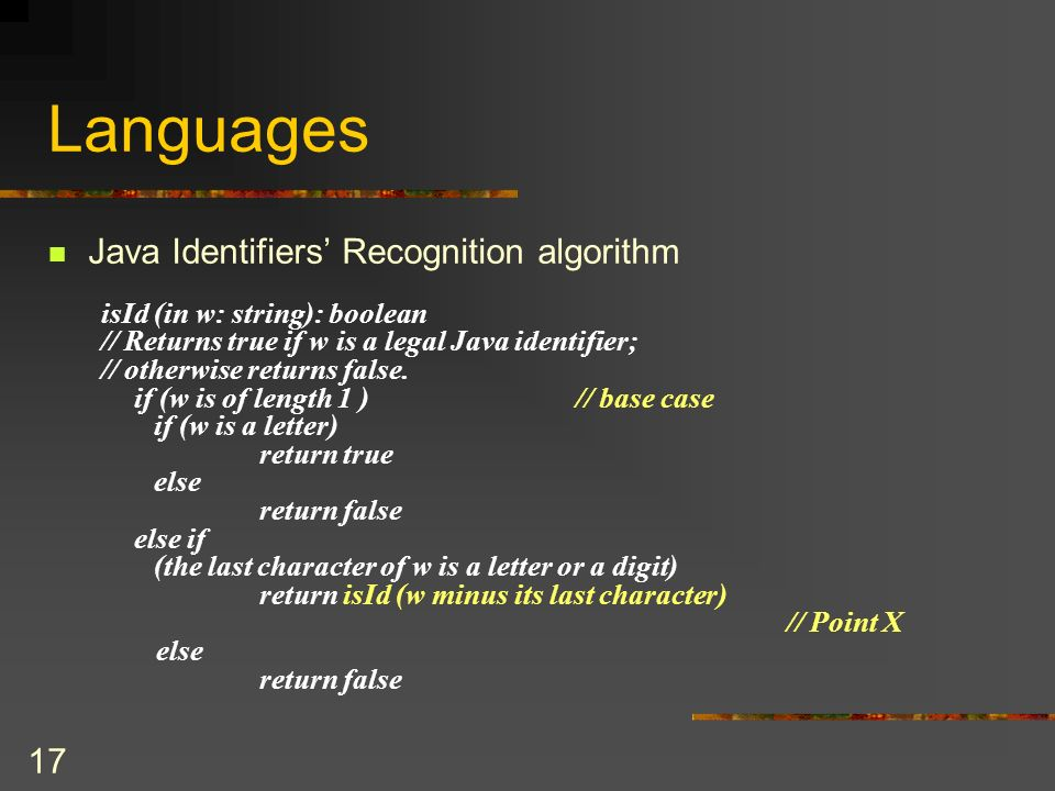Languages Java Identifiers' Recognition algorithm