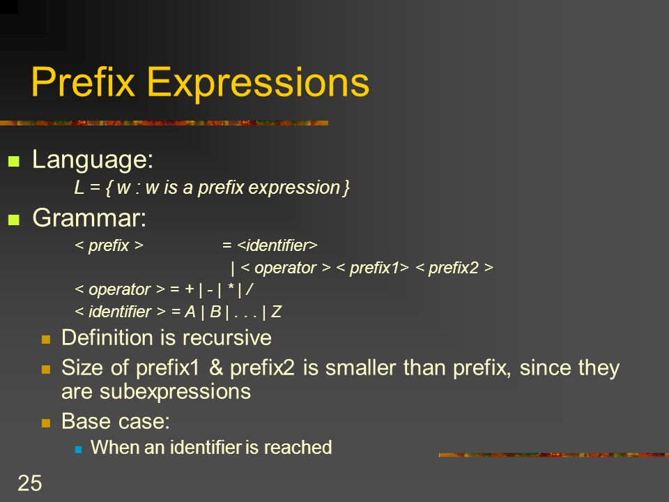 Prefix Expressions Language: Grammar: Definition is recursive