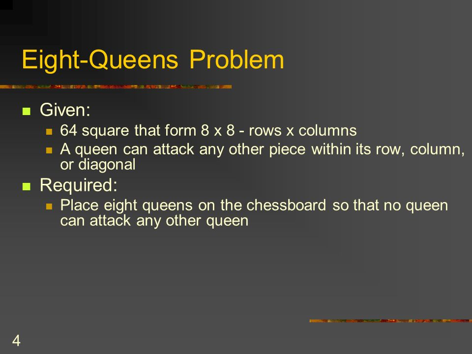 Eight-Queens Problem Given: Required: