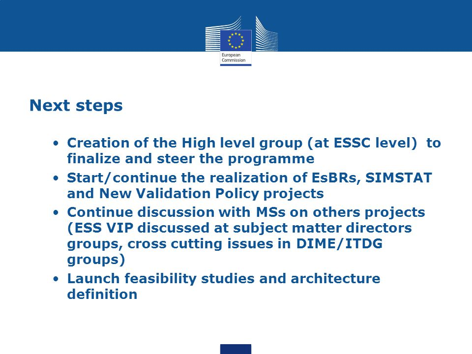 Next steps Creation of the High level group (at ESSC level) to finalize and steer the programme.