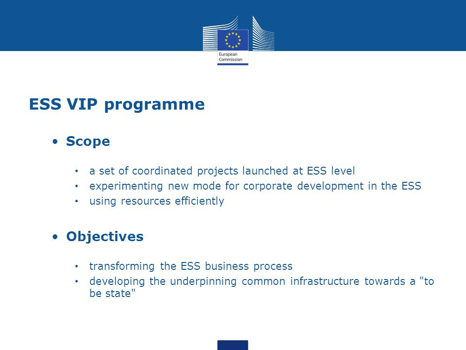 ESS VIP programme Scope Objectives