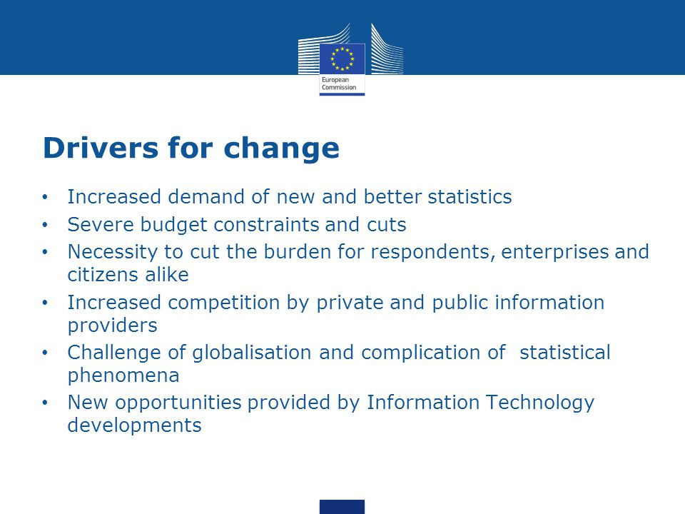 Drivers for change Increased demand of new and better statistics