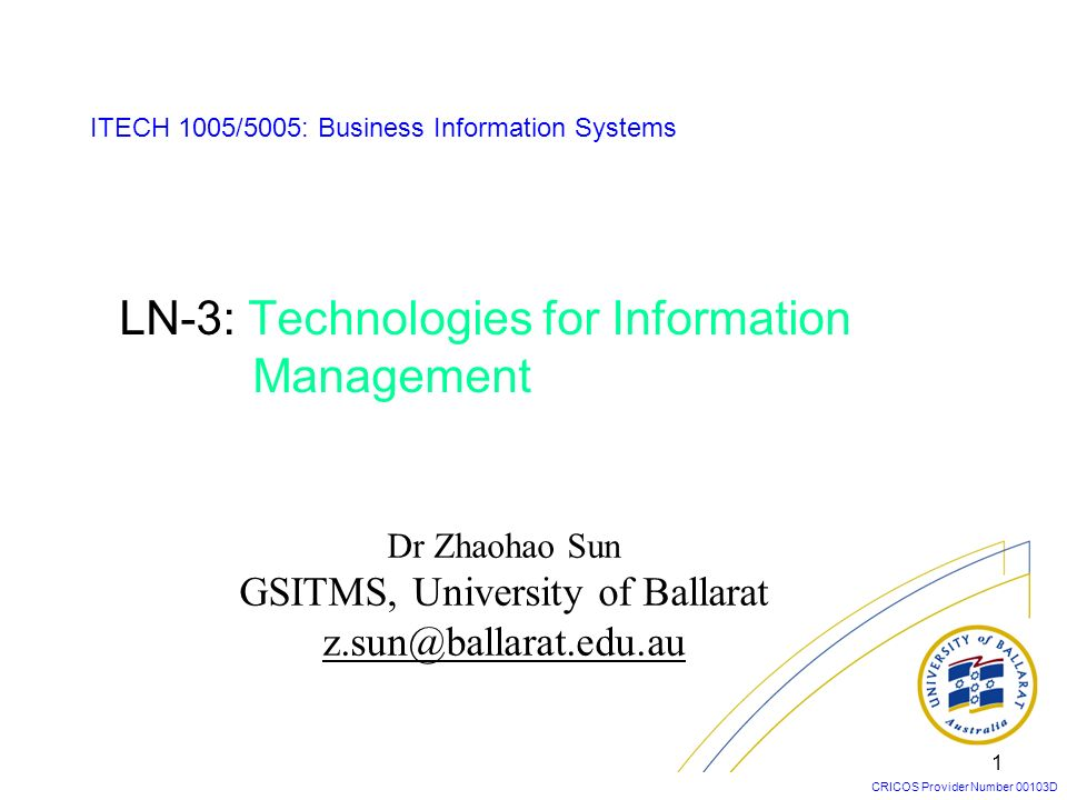 LN-3: Technologies for Information Management