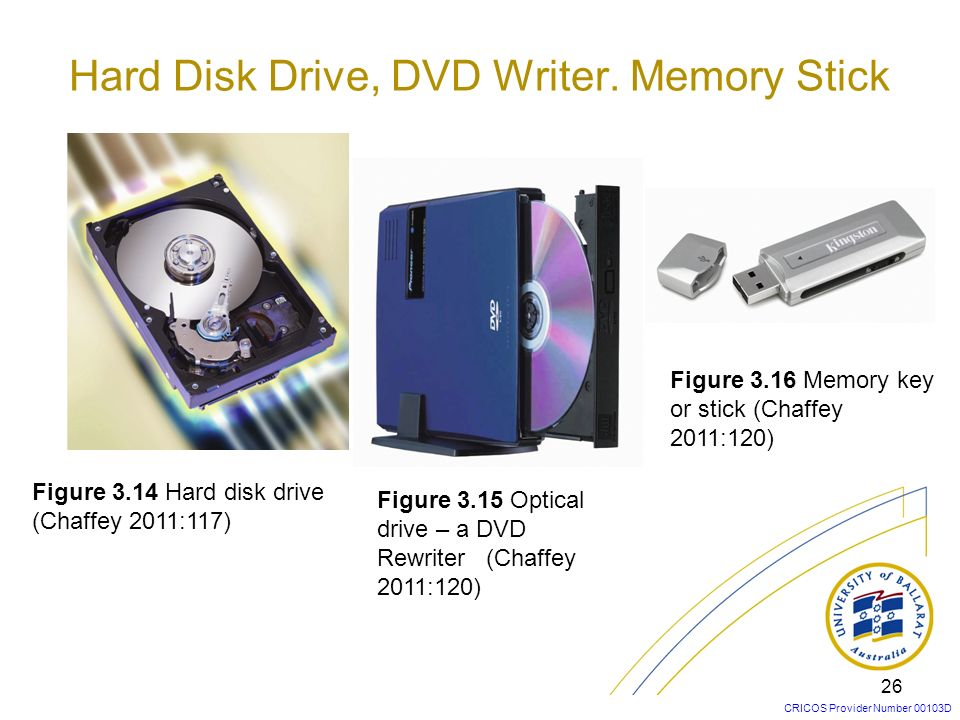 Hard Disk Drive, DVD Writer. Memory Stick
