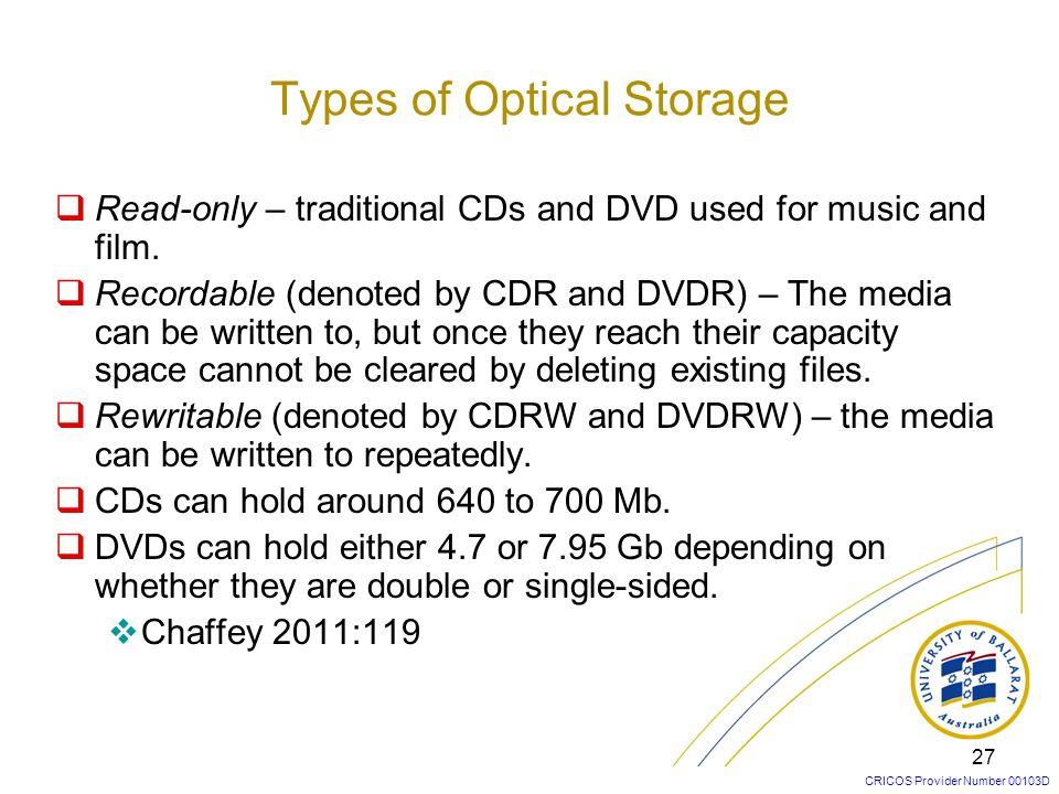 Types of Optical Storage