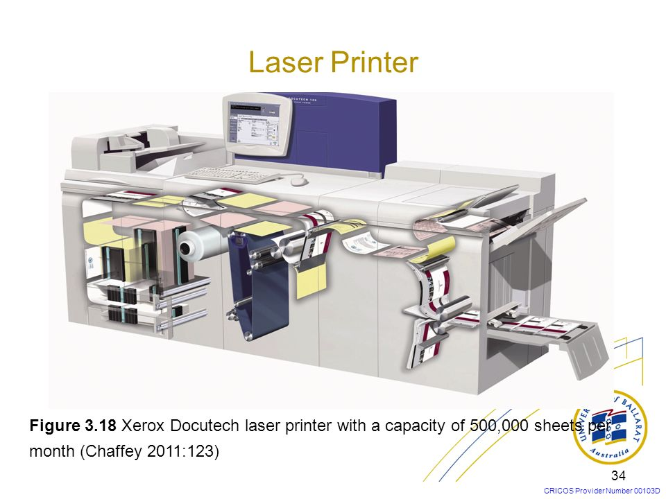 Laser Printer Figure 3.18 Xerox Docutech laser printer with a capacity of 500,000 sheets per month (Chaffey 2011:123)