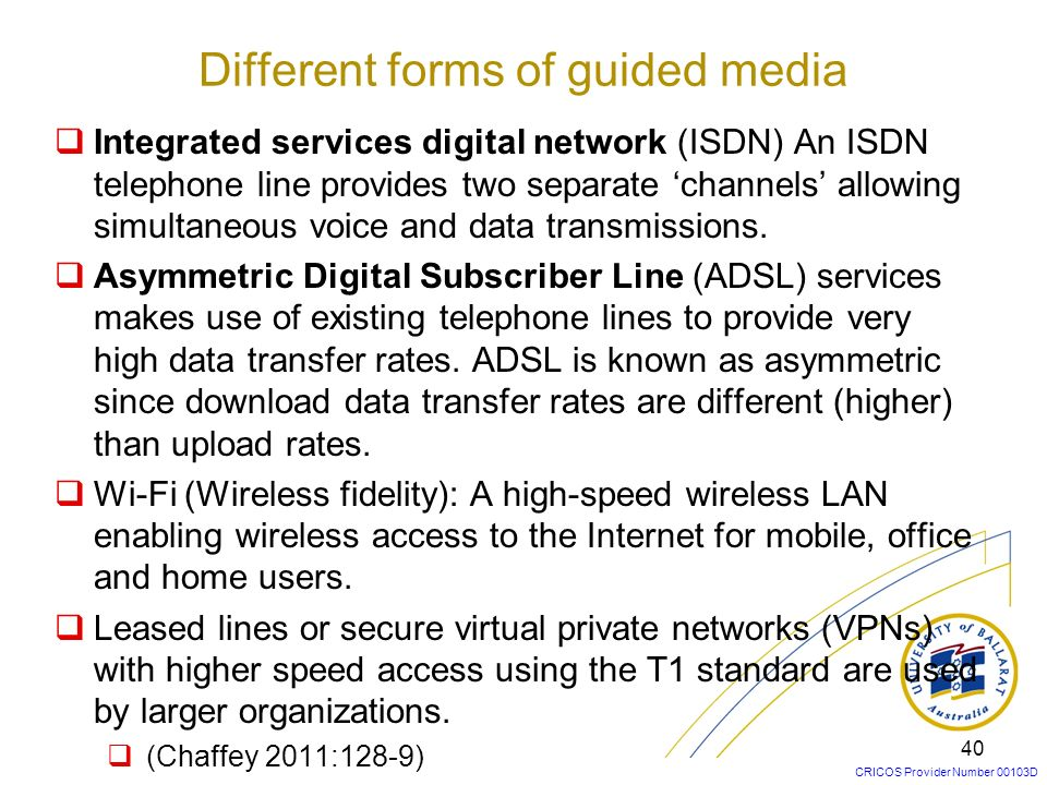 Different forms of guided media