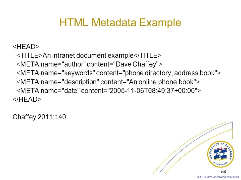 HTML Metadata Example <HEAD>
