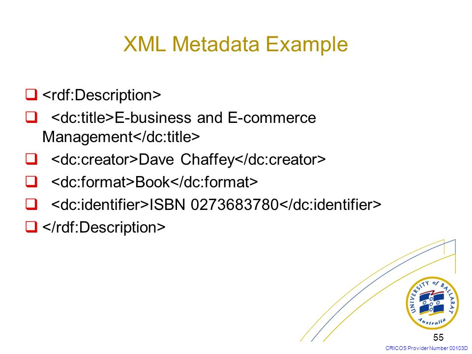 XML Metadata Example <rdf:Description>