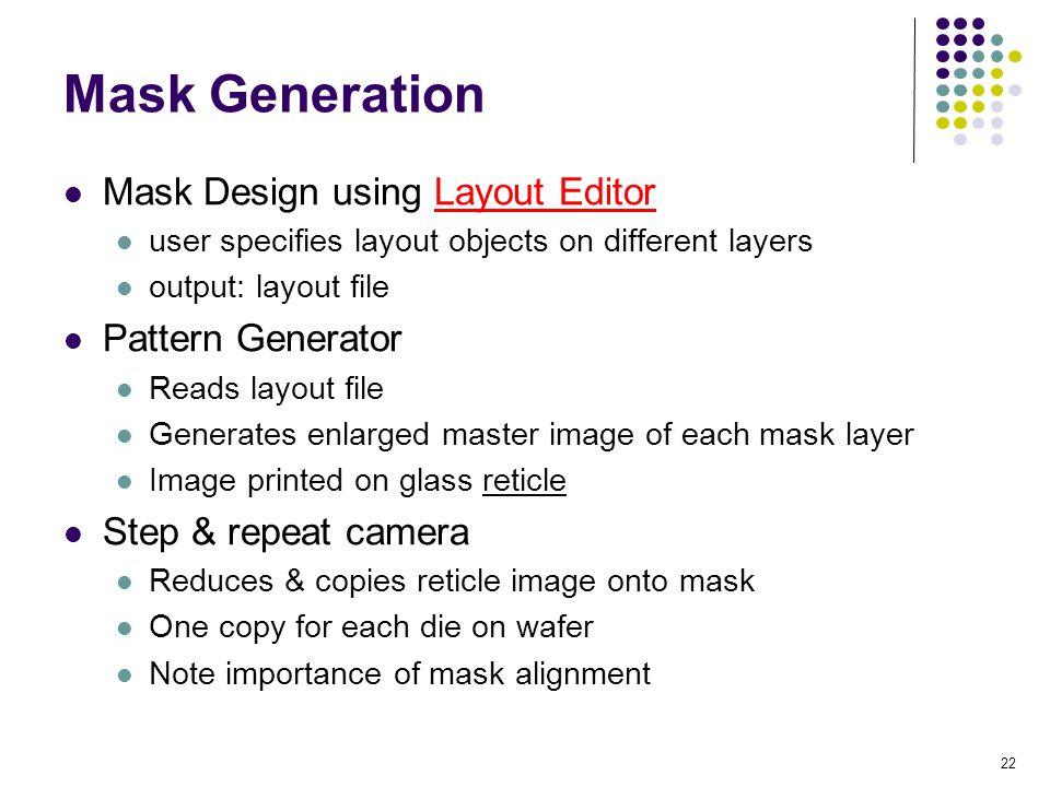 Mask Generation Mask Design using Layout Editor Pattern Generator