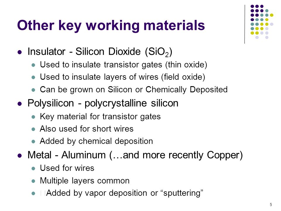 Other key working materials