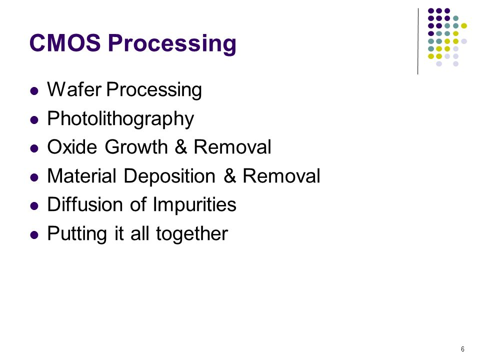 CMOS Processing Wafer Processing Photolithography