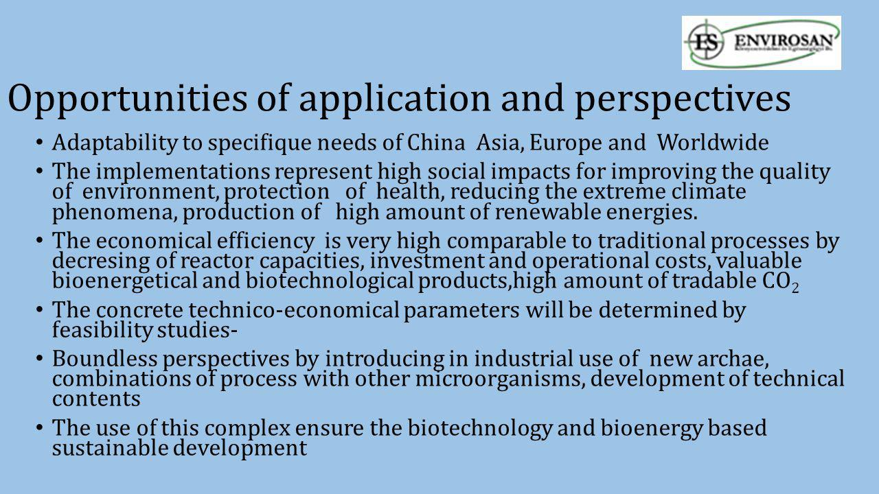 Opportunities of application and perspectives