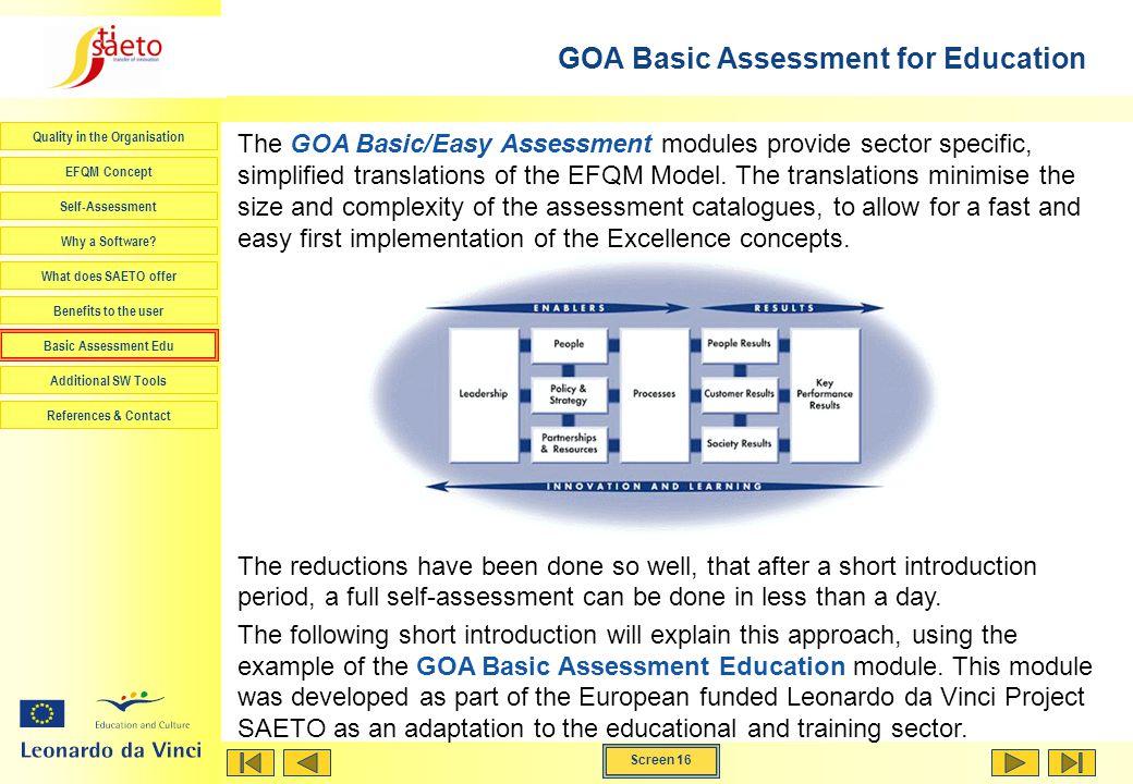 GOA Basic Assessment for Education