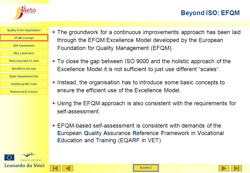 Beyond ISO: EFQM