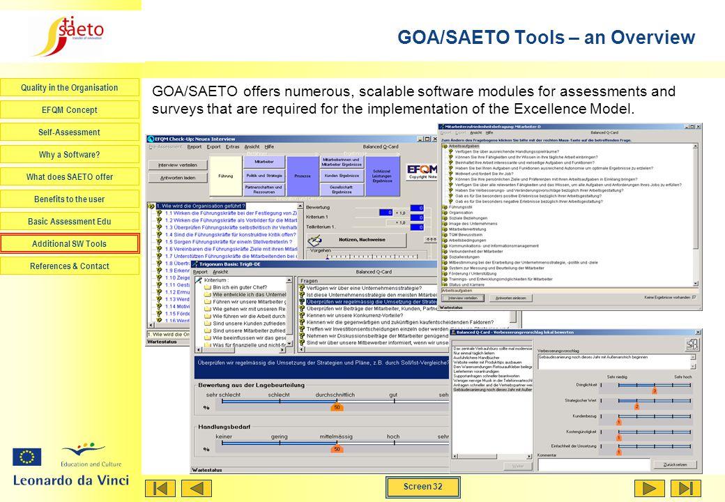GOA/SAETO Tools – an Overview