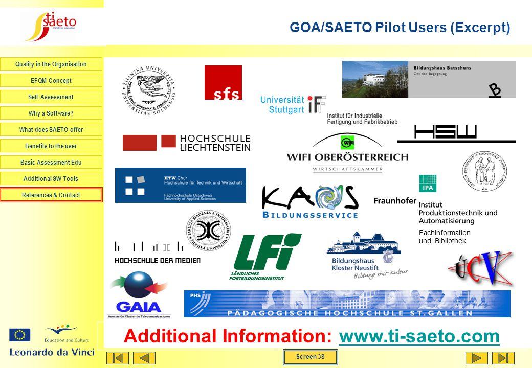 GOA/SAETO Pilot Users (Excerpt)