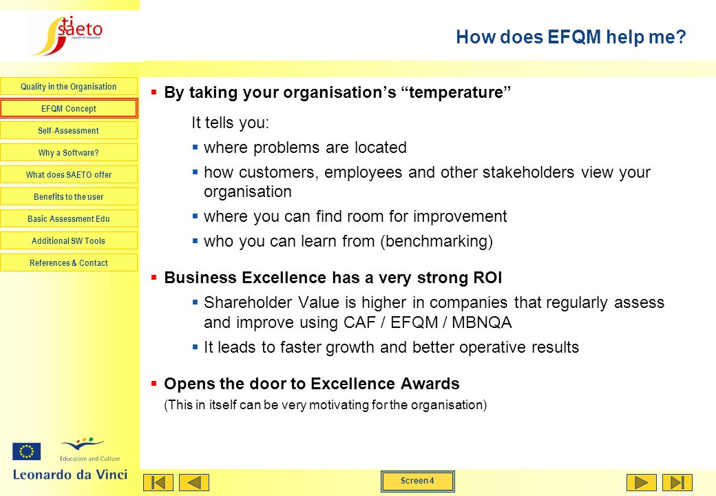 How does EFQM help me By taking your organisation's temperature