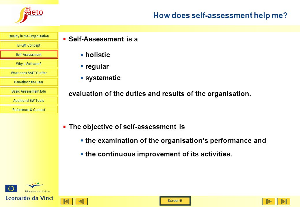 How does self-assessment help me