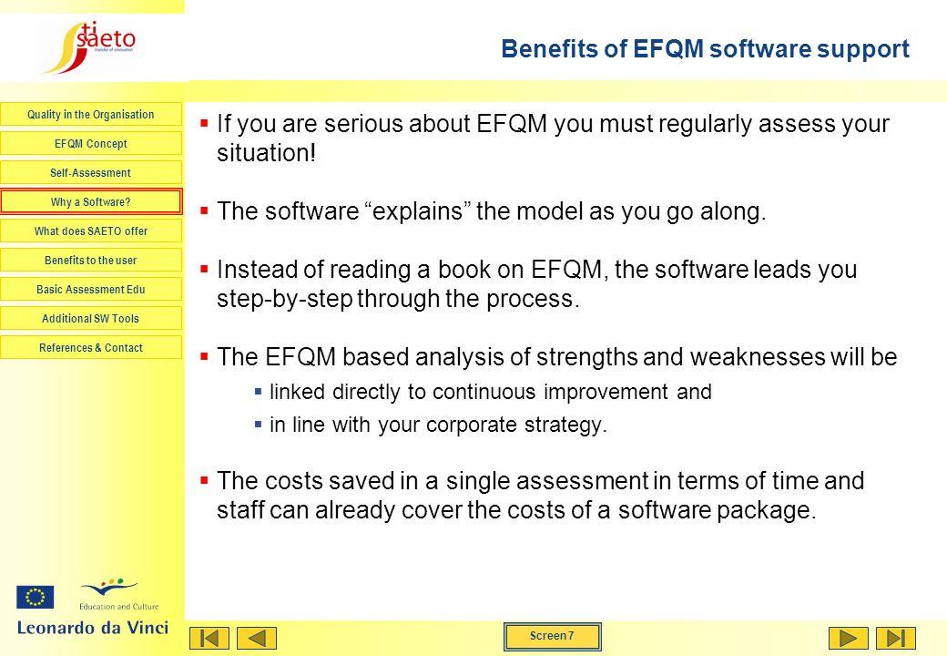 Benefits of EFQM software support