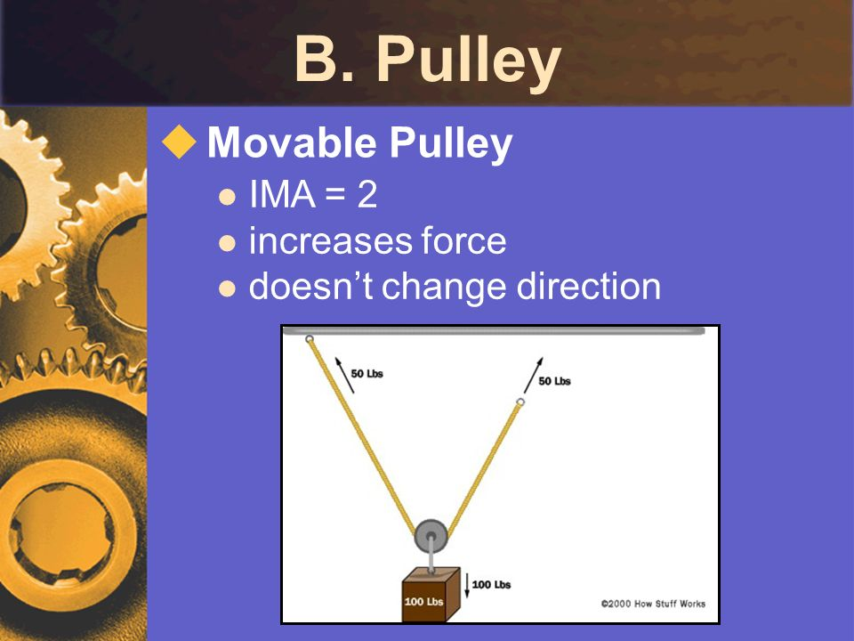 B. Pulley Movable Pulley IMA = 2 increases force