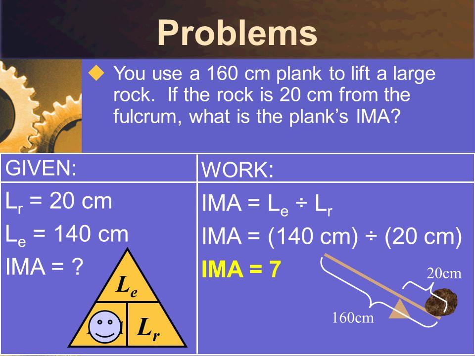Problems Lr Le Lr = 20 cm IMA = Le ÷ Lr Le = 140 cm