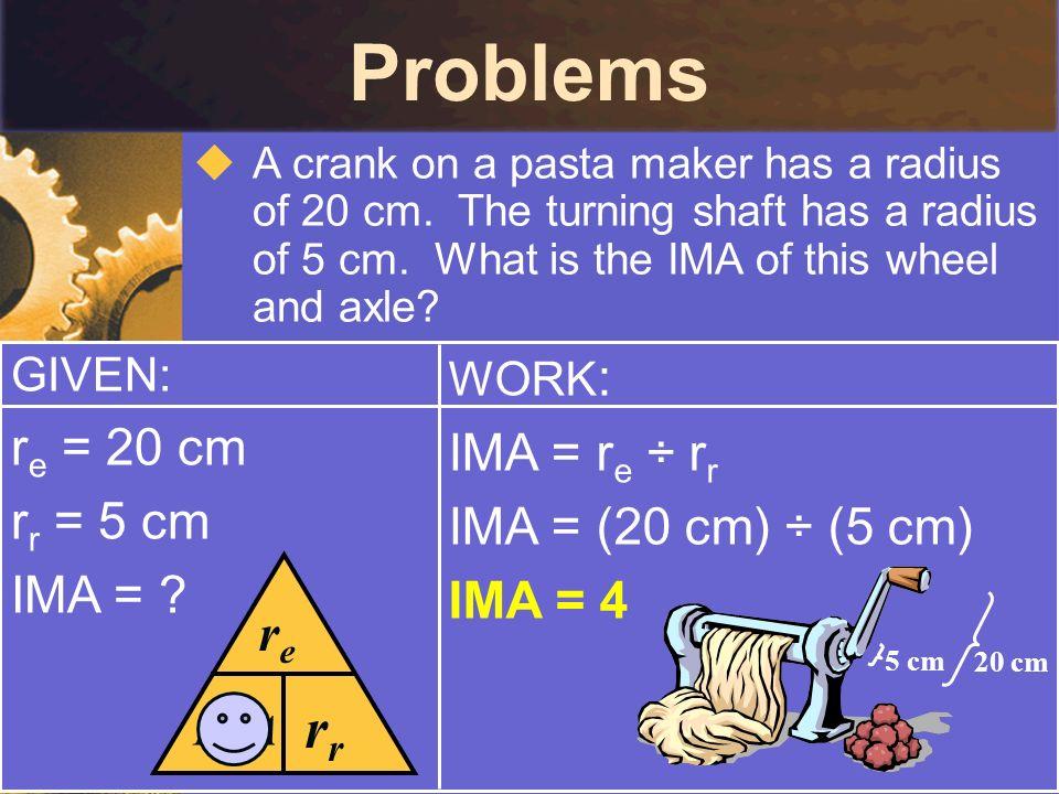 Problems rr re re = 20 cm IMA = re ÷ rr rr = 5 cm