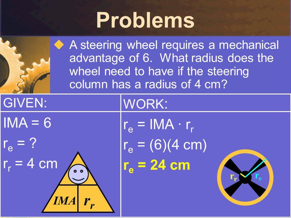 Problems rr re IMA = 6 re = IMA · rr re = re = (6)(4 cm) rr = 4 cm