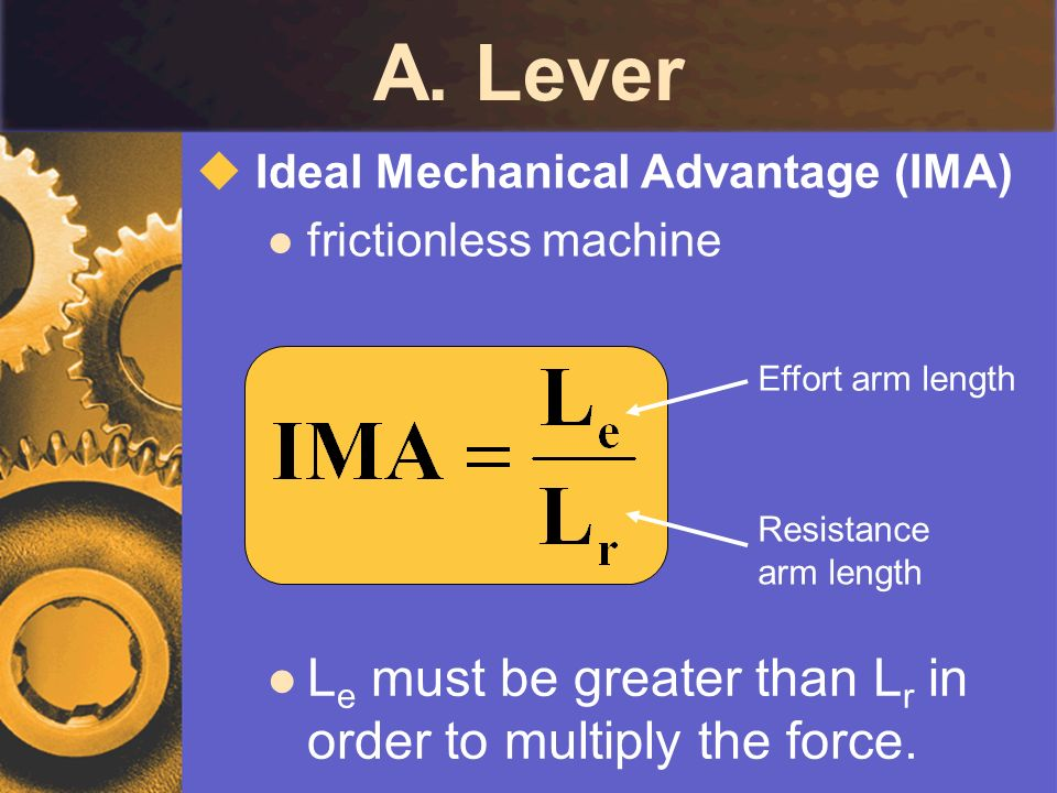 A. Lever Le must be greater than Lr in order to multiply the force.