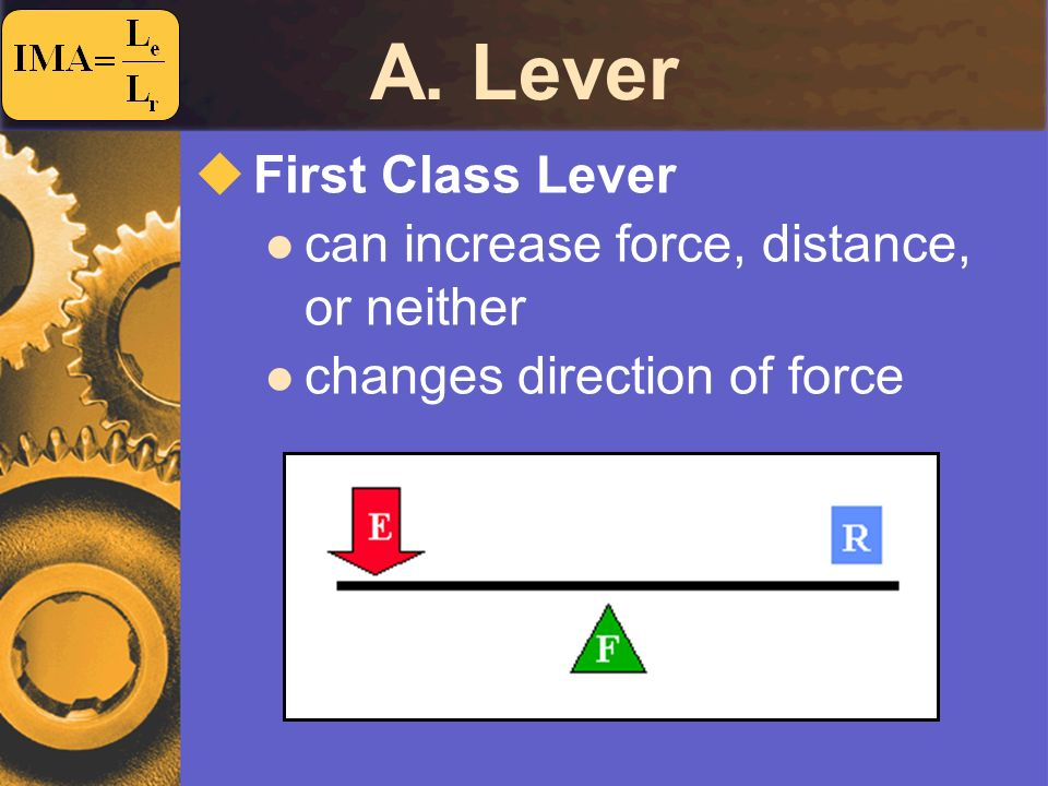 A. Lever First Class Lever can increase force, distance, or neither