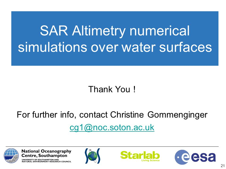SAR Altimetry numerical simulations over water surfaces