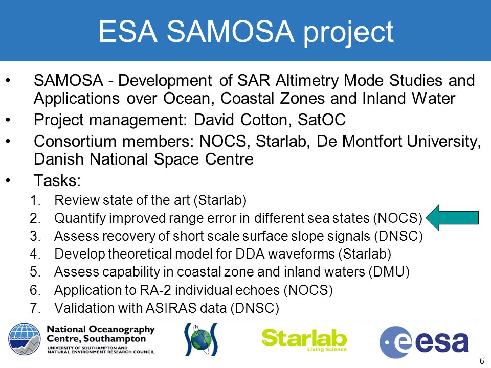 ESA SAMOSA project SAMOSA - Development of SAR Altimetry Mode Studies and Applications over Ocean, Coastal Zones and Inland Water.