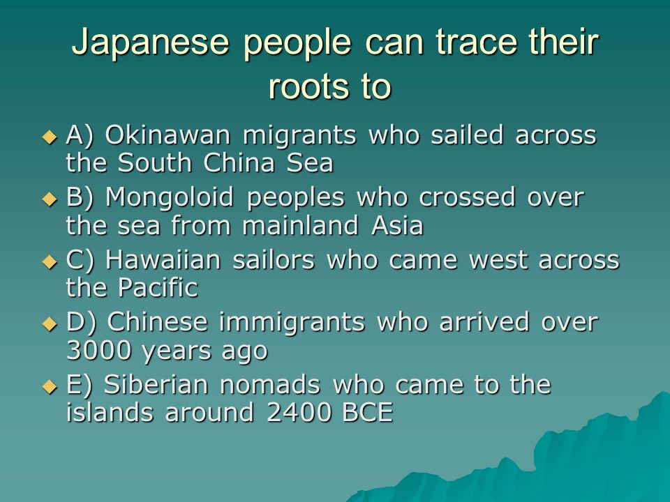 Japanese people can trace their roots to