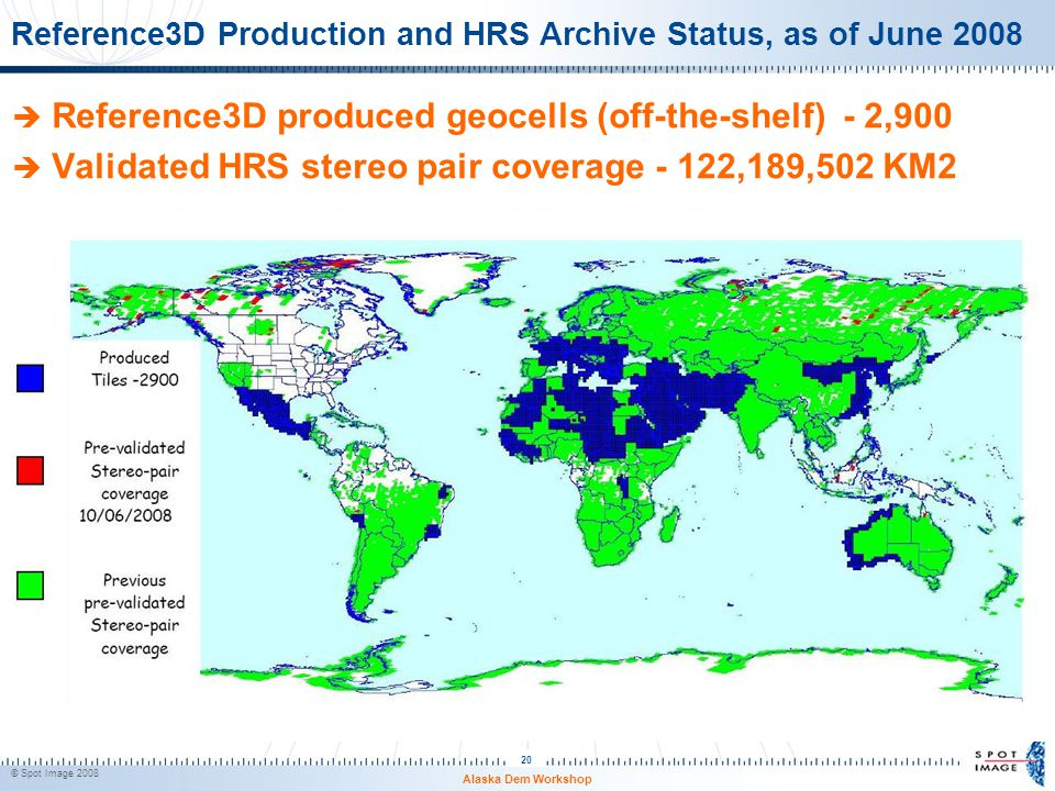 Reference3D Production and HRS Archive Status, as of June 2008