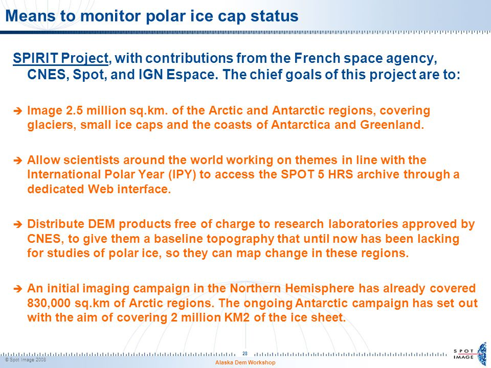 Means to monitor polar ice cap status