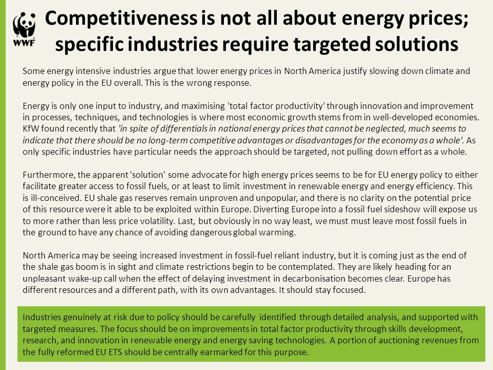 Competitiveness is not all about energy prices; specific industries require targeted solutions