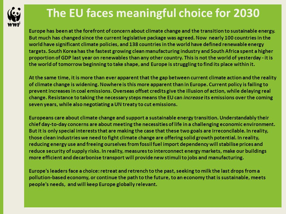 The EU faces meaningful choice for 2030