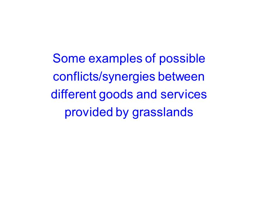 Some examples of possible conflicts/synergies between different goods and services provided by grasslands