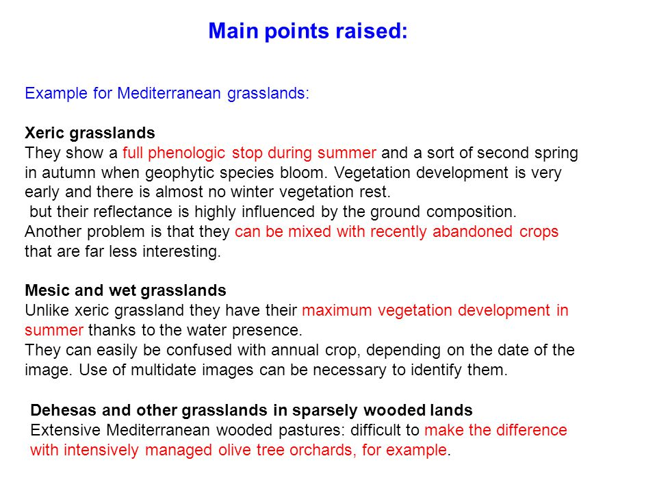 Main points raised: Example for Mediterranean grasslands: